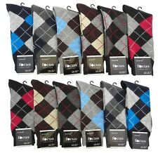 12 Pairs Mens Premium #1Focus10-13 Argyle Dress Socks COTTON Blended Size 10-13