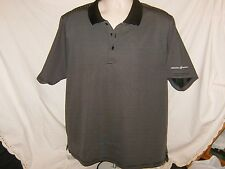 Mens Polo Shirt Beverly Hills Polo Club Charcoal Striped Size  L