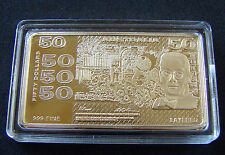 1.15 ounce Gold Plated bar/ingot of $50 Australian Bank Note.Big and spectacular