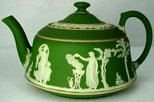WEDGWOOD china OLIVE GREEN JASPERWARE pattern TEAPOT with Lid 20 oz.