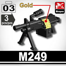 M249 (W130) SAW Machine gun compatible with toy brick minifigures Army Military