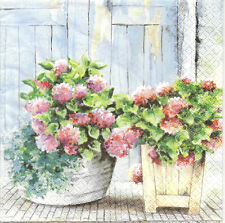 4 Single Paper Napkins for Decoupage Cottage Hydrangea Flowers in a Pot