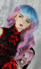 "1/4 7-8"" BJD DOLL WIG MSD PINK PURPLE BLUE CURLY BANGS LUTS DOLLFIE JR20 USA"