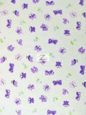 "BUTTERFLY PRINT FLANNEL FABRIC - Purple - 45"" WIDTH POLYCOTTON SOLD BY THE YARD"