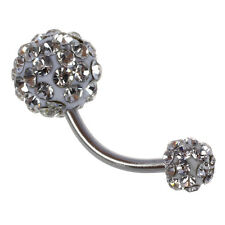 Bling Crystal Ball Navel Belly Button Ring Stainless Steel Piercing ED