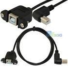 New 1M USB 2.0 B Female Socket Printer Panel Mount to Right Angled Male Cable