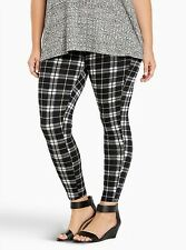 NWT * TORRID TARTAN Navy White Black Plaid Full Length Leggings * Size 1 or 1x