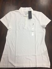 Tommy Hilfiger Women's Classic Pique Polo Shirt White Large NEW