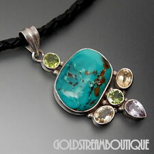 STERLING SILVER TURQUOISE PERIDOT CITRINE AMETHYST PENDANT & BLACK LEATHER ROPE