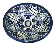 #025 SMALL BATHROOM SINK 16x11.5 MEXICAN CERAMIC HAND PAINT DROP IN UNDERMOUNT