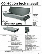 PUBLICITE ADVERTISING 045  1963  GUERMONPREZ   sièges canapé-lit teck