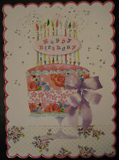 Carol Wilson Birthday Card For Her Glitter Pink Rose Birthday Cake Embossed