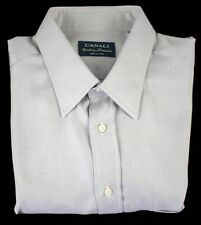 New CANALI Executive Gray Herringbone Cotton Dress Shirt 17.5 XL 44 MSRP $250!