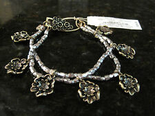 Lucky Brand~Antiqued Gold Tone~Silver Bead~Flower Charm~Alligator Clasp~Bracelet