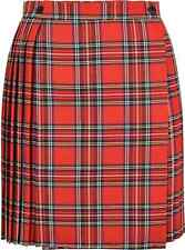 Ladies/Womens Tartan Pleated Mini Skirt With Waist Buttons Fastening 18 Inches