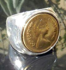 Vtg Antique Elizabeth Pound Coin Silver 925 Gold 24K Plated Hammered Ring Sz 8