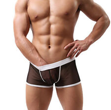 2016 Mens Low Waist Mesh Sexy Boxers Bulge Comfy Shorts Underpants Underwear Y5
