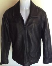 Calvin Klein Men's Large Black Lambskin 100% Leather Jacket Qlted Lining New