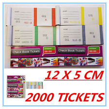 2000 RAFFLE TICKETS - CHECK BOOK TICKETS (1-100) COLOURFUL - BUSINESS PARTY AP