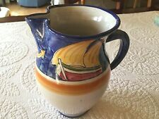 Solimene Vietri Italian Pottery RARE Sailboat and Anchor Pitcher
