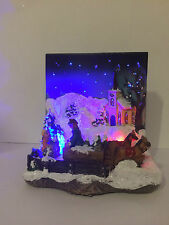 Christmas Decoration LED Fibre Optic Xmas Snow Scene with Horses & Cart & trees