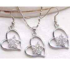Clear White Heart Flower Silver Necklace Earring April Birthstone Jewelry Set