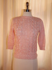 Vtg Rockabilly Pink & White CROPPED CABLE KNIT SWEATER Sz S 3/4 Sleeve Retro Hip