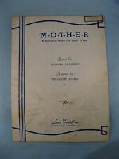 Mother A Word That Means The World To Me Sheet Music Vintage 1943 Morse AS IS O