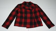 GAP Womens M Red Plaid Wool Blend Lined Pea Coat