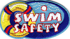 """""""SWIM SAFETY"""" - Iron On Embroidered Patch - Swimming, Sports, Words, Lifesaving"""