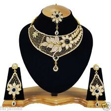 Flower Style Gold Plated Party wear Kundan Zerconic Designer Necklace Set