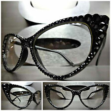 VINTAGE 60's CAT EYE Style Clear Lens EYE GLASSES FRAMES Black Crystals Handmade