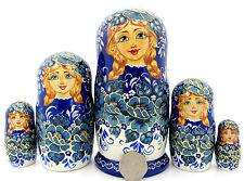 Genuine Russian HAND PAINTED nesting dolls 5 Blue White Flower Babushka POTAPOVA