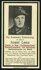 original TARJETA IN MEMORIAM DEATH CARTAS alienta. GROSSDEUTSCHLAND GD KIA 1944