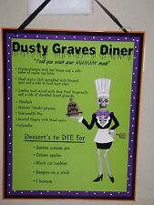 "HALLOWEEN KITCHEN MENU WALL DECOR ""DUSTY GRAVES DINER"" 14"" X 11"" NWT"