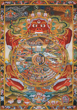 "50"" EMBROIDERED BROCADE SCROLL TIBET THANGKA: BHAVACHAKRA MANDALA WHEEL OF LIFE"