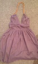 Kate Moss Topshop Iconic Gold Rope Purple Lilac Vtg Halter Summer Tea Dress 8 4