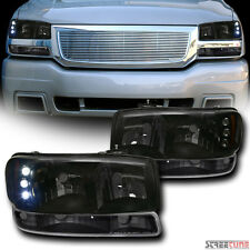 Smoke LED Headlights Am AW+Bumper Parking Lamps Blk JY 99-06 Sierra/00+ Yukon XL