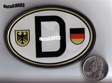 OVAL WHITE D DEUTSCHLAND GERMAN BADGE - VW BMW MERCEDES AUDI PORSCHE FREE SHIP
