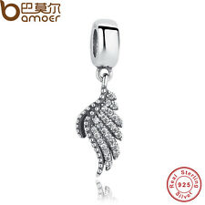 Authentic S925 Sterling Silver Majestic Feather, Clear CZ Charm Fitting Bracelet