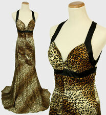 Morgan & Co $120 Evening Prom Formal Cruise Long Gown Dress size 3 Animal Print