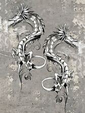 PAINTING DRAWING TATTOO SKETCH FLYING DRAGON FIRE ART PRINT POSTER MP3859A