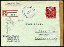 BERLIN 1949 67 auf schönem R-BRIEF nach ÖSTERREICH (Z8130