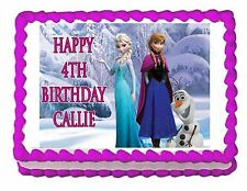 FROZEN ELSA, ANNA AND OLAF edible party cake topper decoration frosting sheet