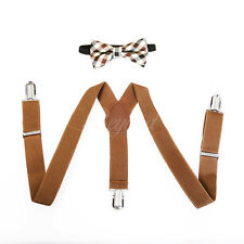 Brown Fancy Suspender and Bow Tie Set for Baby Toddler Kids Boys (USA Seller)