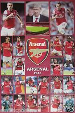 "ARSENAL FC ""2013 PLAYERS, COACH & STADIUM"" POSTER -Premier, UEFA League Football"