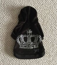 Juicy Couture Dog Hooded Sweatshirt Black Velour w/ Rhinestone Crown Size Large