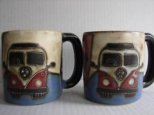 Mara Stoneware Pottery VW Volkwagen Camper Van Hippie Large coffee mugs Cups