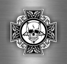 Sticker car motorcycle helmet decal chopper maltese cross skull biker r5