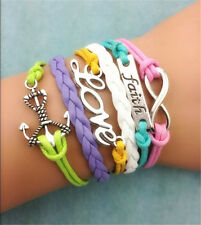 NEW Retro Infinity Love anchor Leather Charm Bracelet plated Silver Jewelry gift